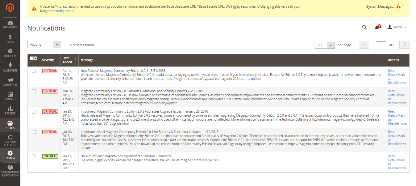 صفحه مدیریت پیام های مجنتو 2