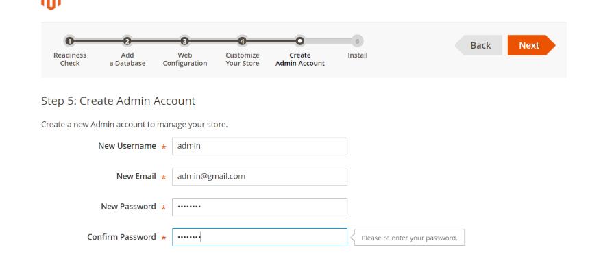 مشخصات حساب کاربری ادمین مجنتو
