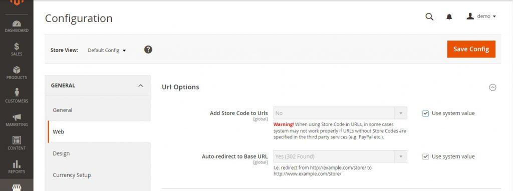 حذف کدهای پیشفرض فروشگاه از URL